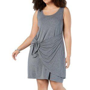 NWT Macys Gray Faux Wrap Tank Swing Midi Dress